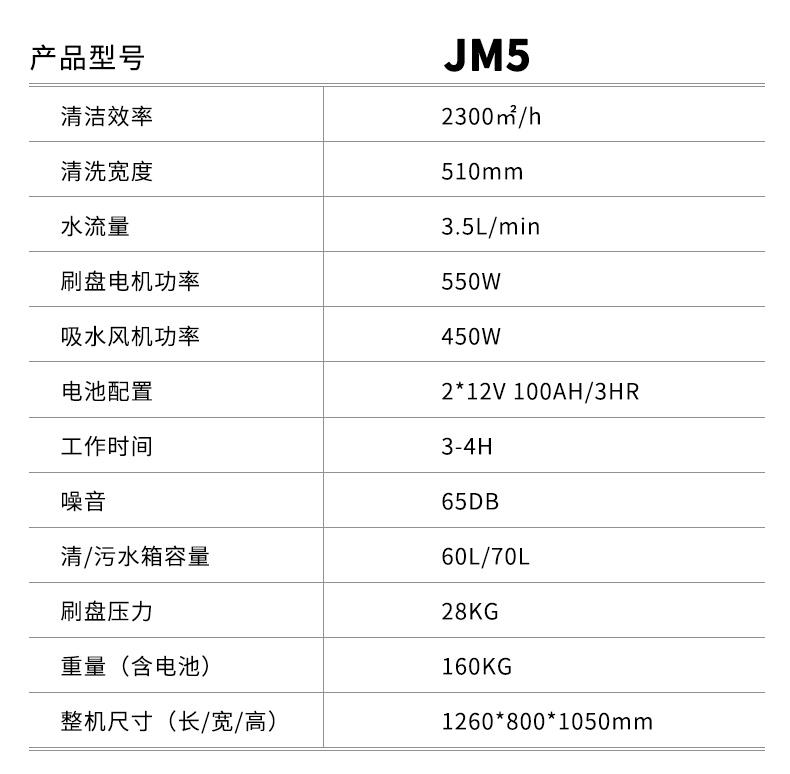 鼎洁盛世手推式洗地机JM5产品型号及参数