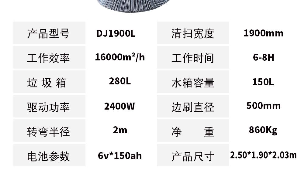 鼎洁盛世品牌DJ1900L高压清洗扫地车产品参数